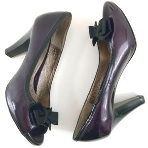 Sofft Patent Leather Peep Toe Bow Pumps 9.5